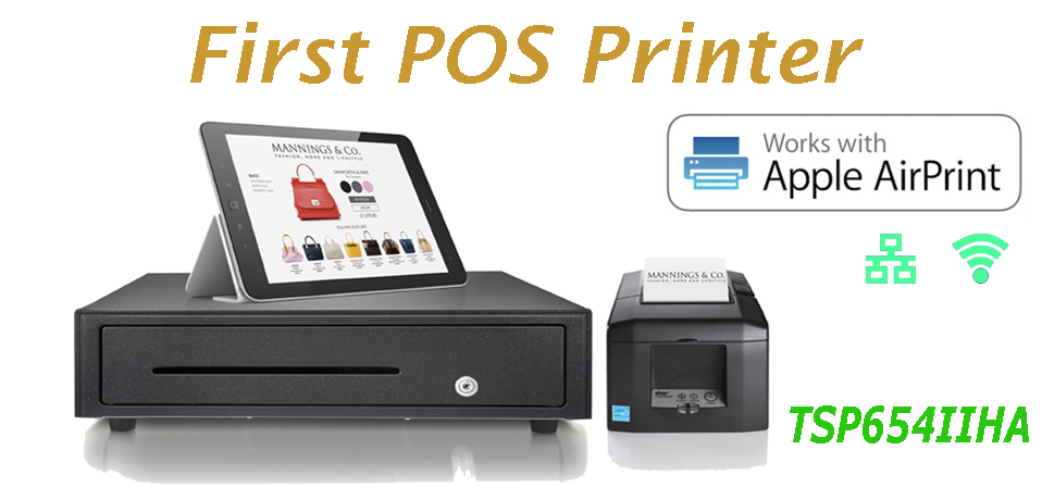 STAR TSP654IIHA allows the Apple user to continue with the familiar AirPrint experience accustomed when using their Apple iOS® POS system.